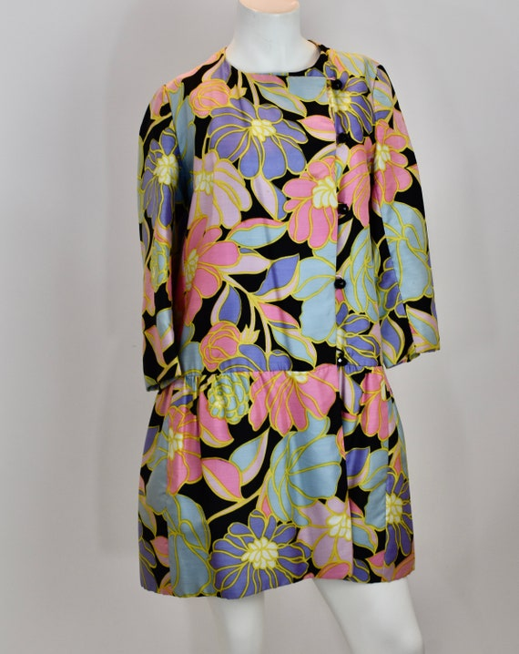 Vintage 1960's Mod Abstract Floral GoGo Dress Pucc