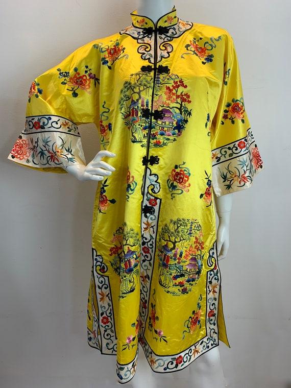 Vintage Chinese Kimono Robe/Vintage Yellow Embroid