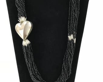 Black Twist Seed Bead and Silver Heart Necklace/Multi Strand Heart Necklace/Art Deco Torsade Necklace