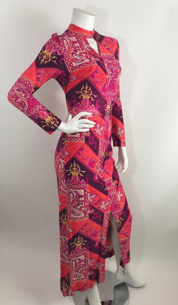 Vintage 60s Baroque Print Maxi Dress/Long Sleeve … - image 2