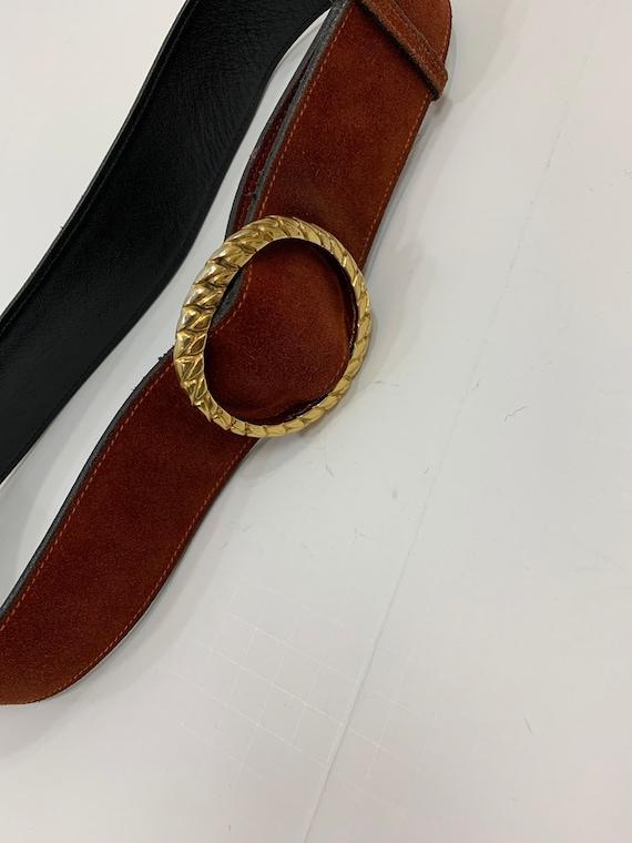 Vintage 1970's Rust Suede Gucci Belt Vintage Desi… - image 1