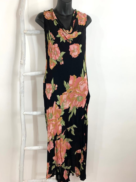 90s does 30s Floral Rayon Dress/Rayon Floral Print