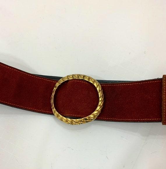 Vintage 1970's Rust Suede Gucci Belt Vintage Desi… - image 3