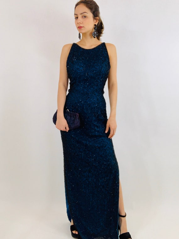 Vintage Andretta Donatello Beaded Gown/Beaded Bac… - image 2