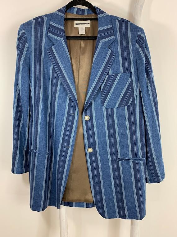Vintage 1990s Indigo Denim Stripe Linen Rayon Blaz