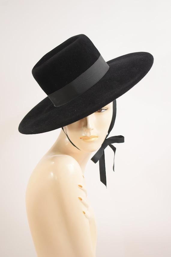 Vintage Madcaps Black Felt Gaucho Hat Black Felt B