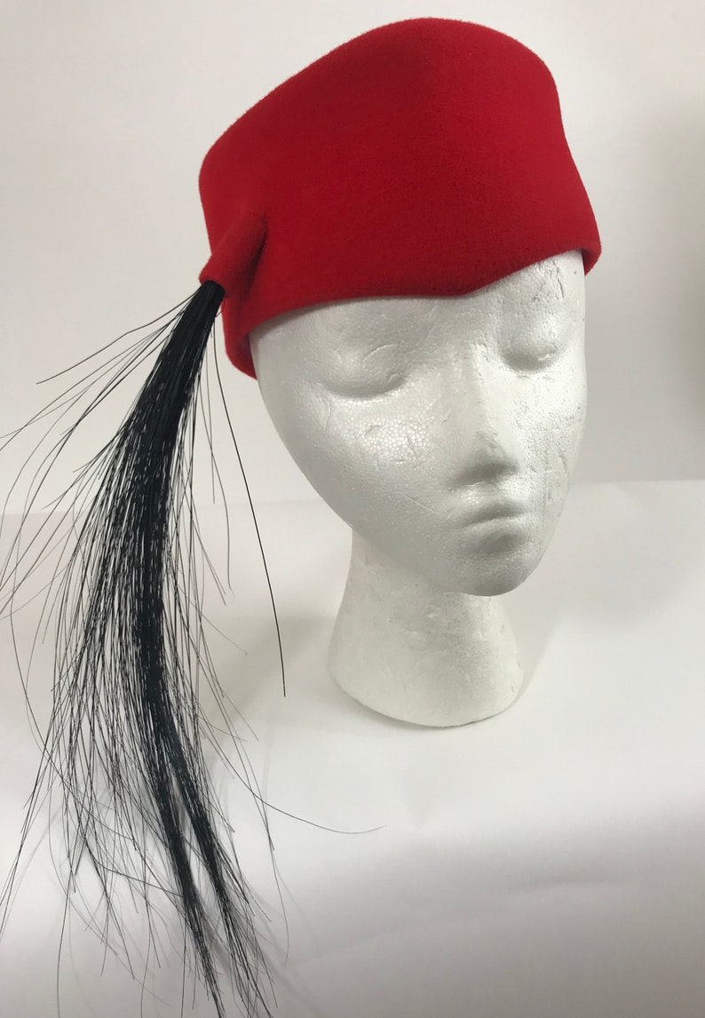 ad07c5f68 Vintage 1960s Frank Olive Red Fez Pill Box Feather Hat/Red Wool Felt Opium  Hat/Vintage Saks Fifth Avenue/Red and Black Feather Hat