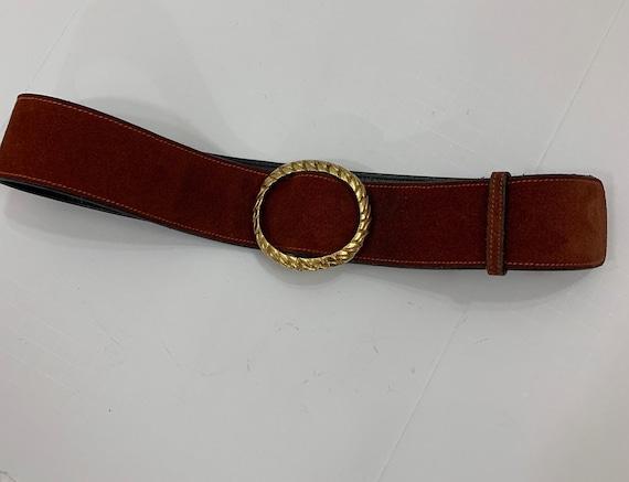 Vintage 1970's Rust Suede Gucci Belt Vintage Desi… - image 5