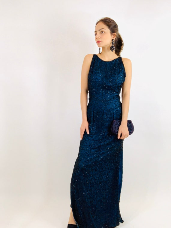 Vintage Andretta Donatello Beaded Gown/Beaded Bac… - image 3