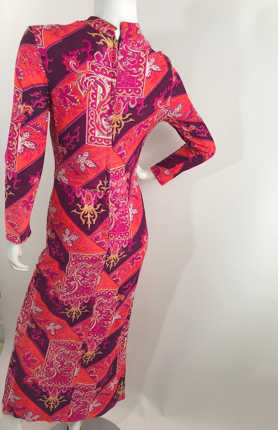 Vintage 60s Baroque Print Maxi Dress/Long Sleeve … - image 6