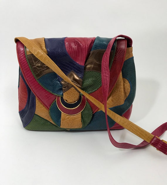 Vintage Sharif Bag in a Patchwork of Colorful Reptile Embossed  16d925a827261