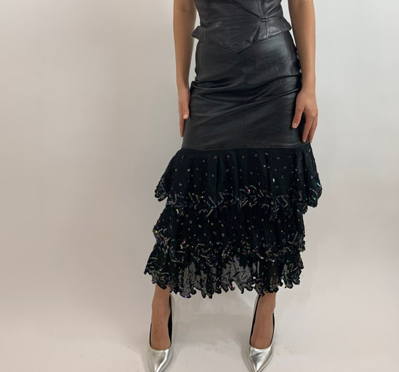 Vintage 80s Leather and Tulle Skirt/Tiered Tulle a
