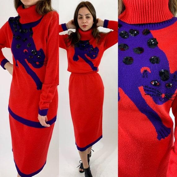 Vintage 70s Knit Sweater Skirt Set/Red Leopard Pri