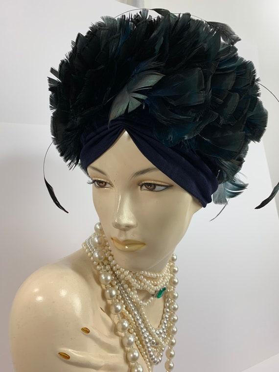 Vintage 1960's Mod Women's Black Feather Hat 1960s