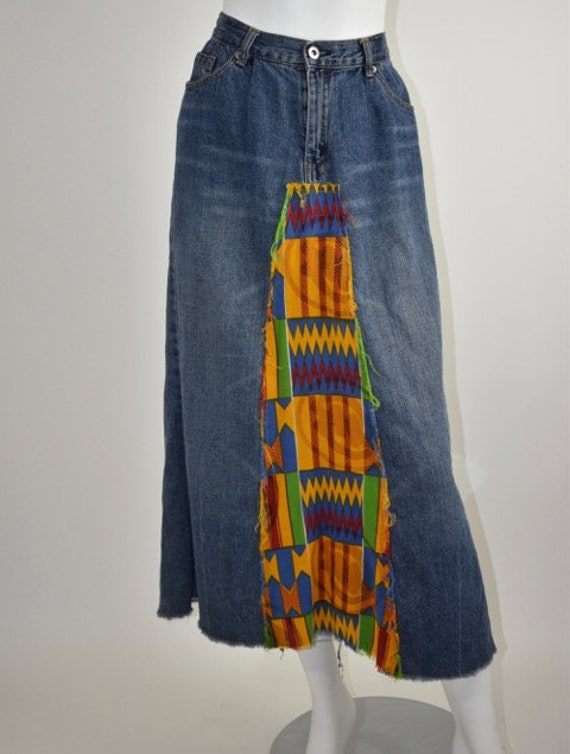 Vintage 90's CoolYah African Patchwork Inset Long