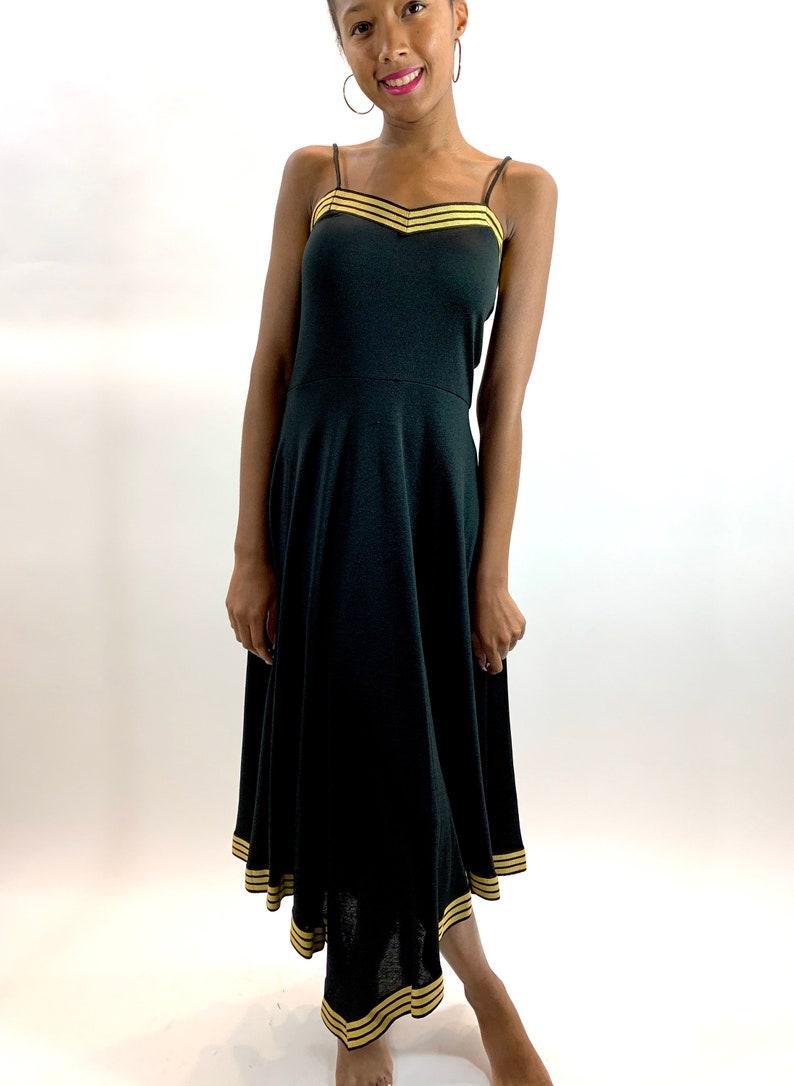Vintage 70/'s Handkerchief Hem Disco Dress 80s Black and Gold Asymmetric Hem Spaghetti Strap Dress