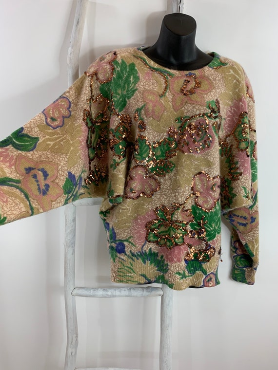 80s Oversized Sweater 1980's Abstract Floral Sequi