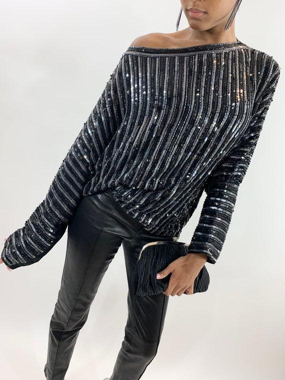 Vintage Silver Black Sequin Stripe Batwing Sleeve