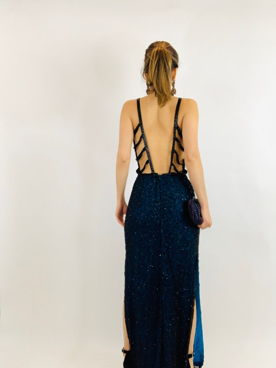 Vintage Andretta Donatello Beaded Gown/Beaded Bac… - image 4