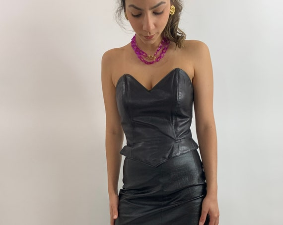 Black Leather Bustier/80s Bustier/Black Leather Co
