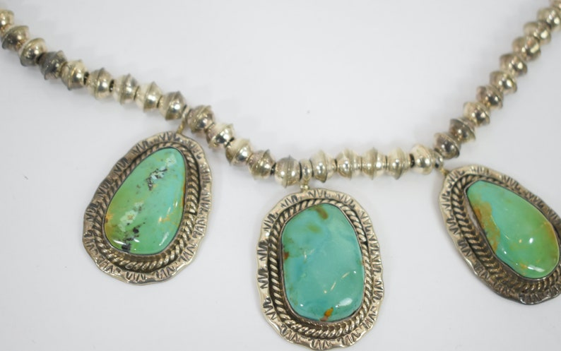 Vintage JE Sterling Silver Turquoise Three Pendant Cabochon Statement  Necklace