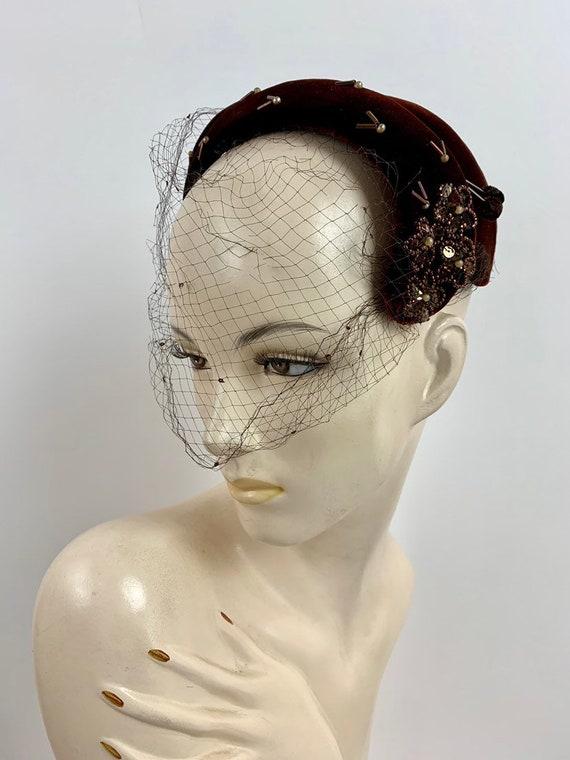 Vintage 1950s Wine Velvet Curved Crown/Velvet Chap