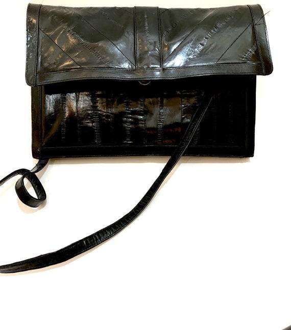 80s Modern Clutch Purse Black EEL Skin Leather Handbag Vintage Textured Leather Shoulder Bag