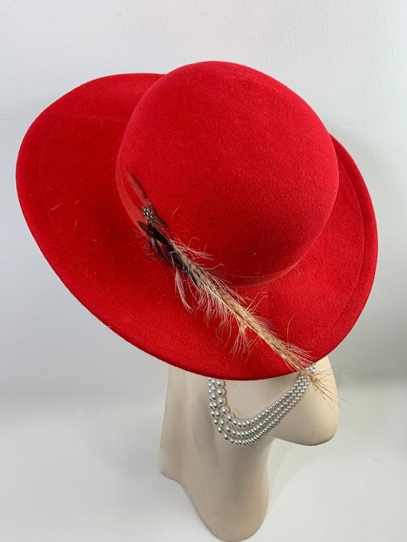 Vintage Red Betmar Wool Felt Hat with Plume Feathe