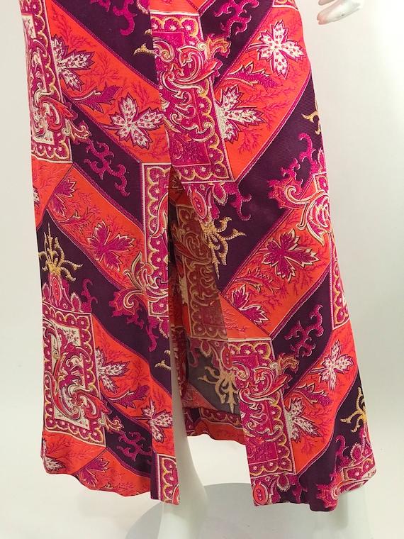 Vintage 60s Baroque Print Maxi Dress/Long Sleeve … - image 5