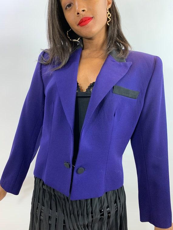 Vintage 1990s Cropped Tuxedo Blazer  Vintage 80s C