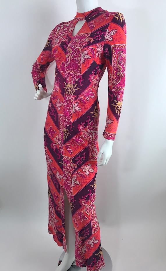 Vintage 60s Baroque Print Maxi Dress/Long Sleeve … - image 3