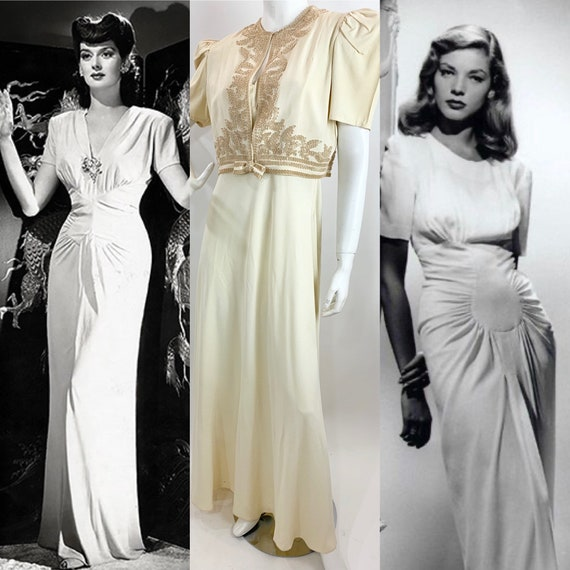 Vintage 1940's Ivory Crepe long Backless Dress and