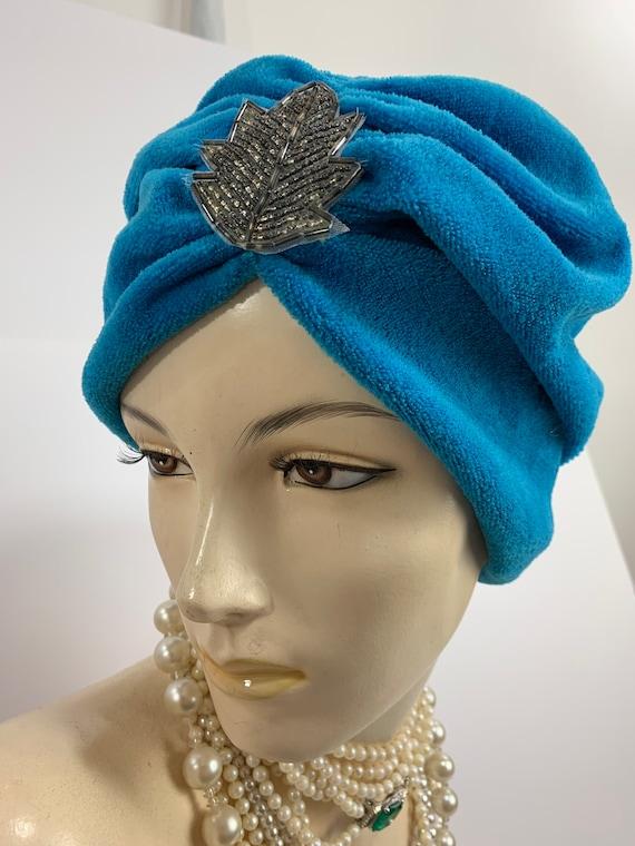 Vintage 40's Velour Knit Turban Hat Turquoise Blue