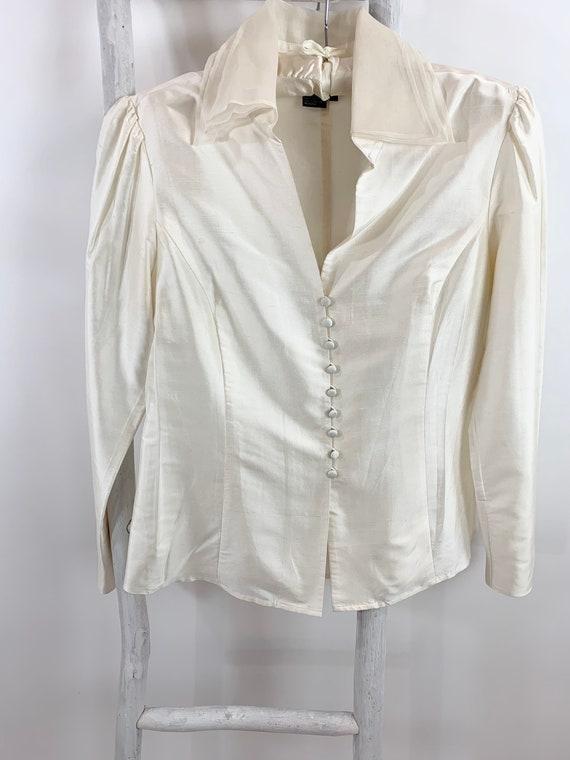 Vintage 80s Silk Shantung Organza Collar Blouse