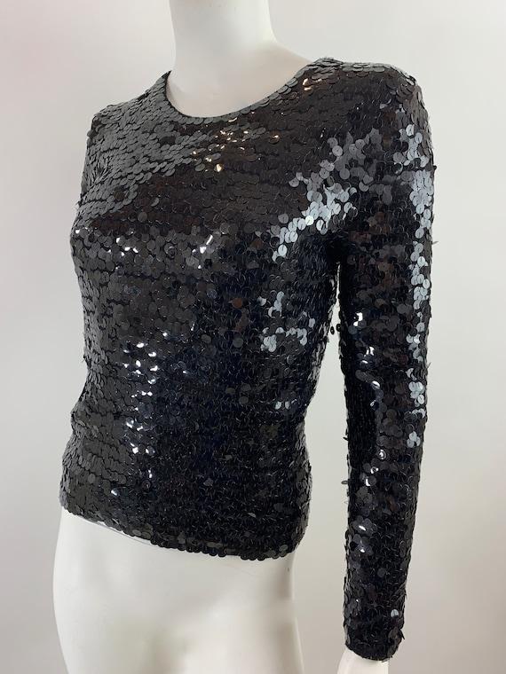 Vintage Black SequinFitted Long Sleeve Top/1970s 8
