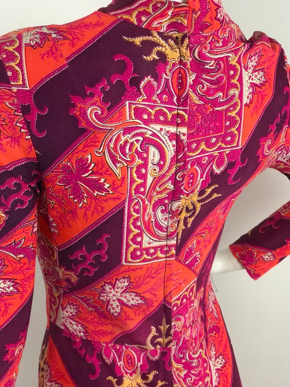 Vintage 60s Baroque Print Maxi Dress/Long Sleeve … - image 7