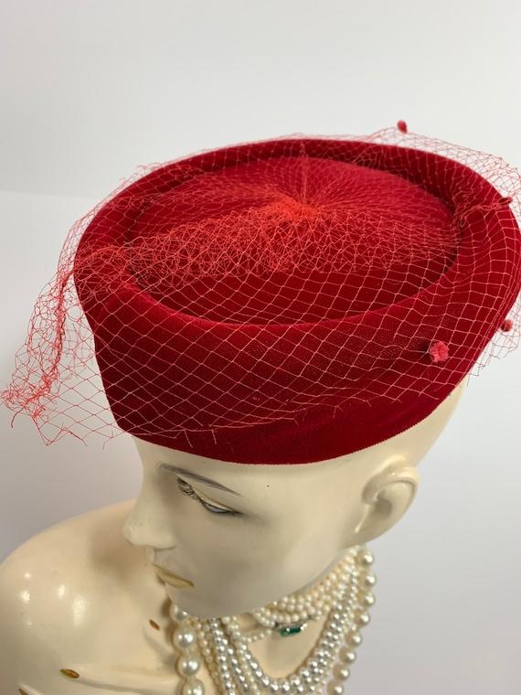 Vintage 1950s Red Velvet Hat 1960s Velvet Pill Box