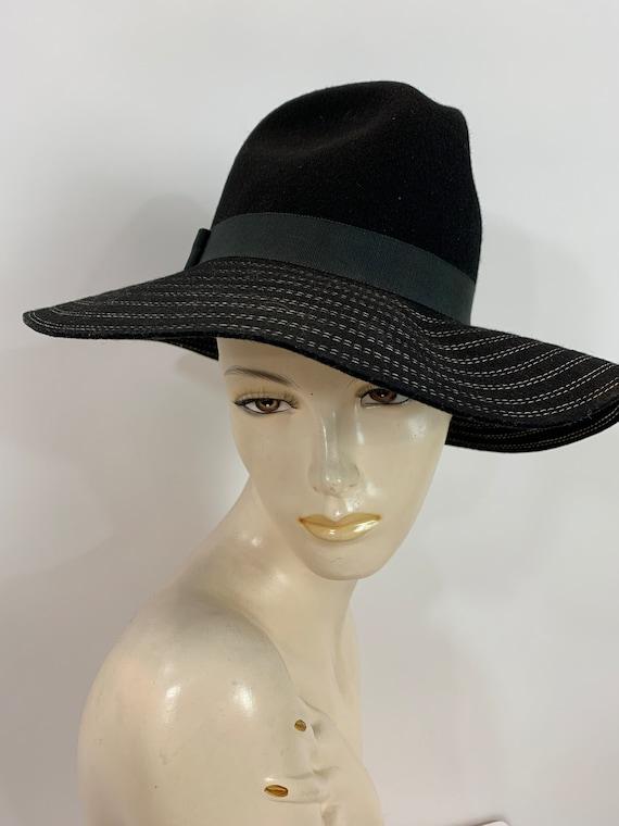 Vintage 70's Black Betmar Wool Felt Hat with White