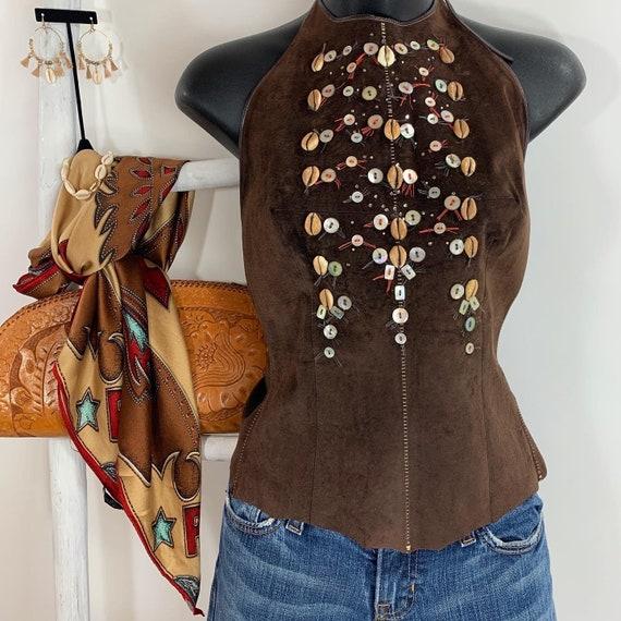 Vintage Medium Brown Suede Leather Bohemian Coache