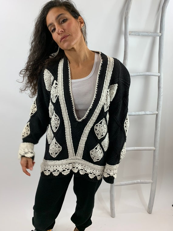 Vintage 1980s Doily Sweater Oversized Exaggerated