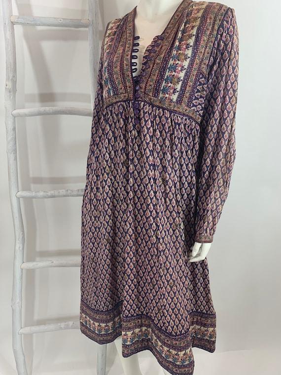 Vintage 1970's Indian Hippie Dress Indian Block Pr