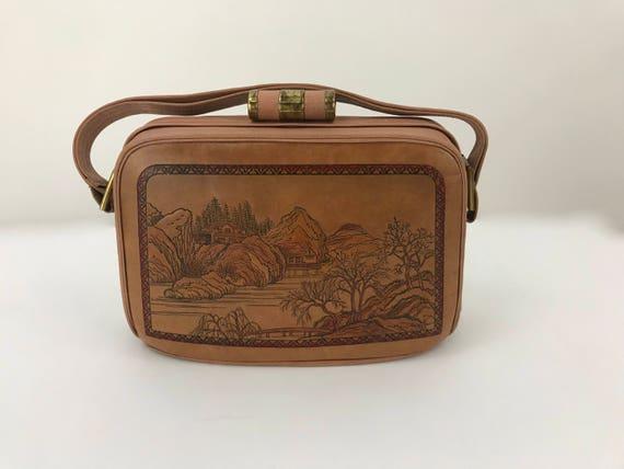 Asian Tooled Leather Bag/Leather Box Bag/Japanese