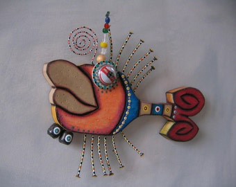 Twisted Tilapia, Original Found Object Sculpture, Wood Carving, Wall Art, by Fig Jam Studio