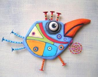 Art Chick, Original Found Object Wall Sculpture, Wood Carving, Bird Wall Art, Abstract Art, Chicken Art, by Fig Jam Studio