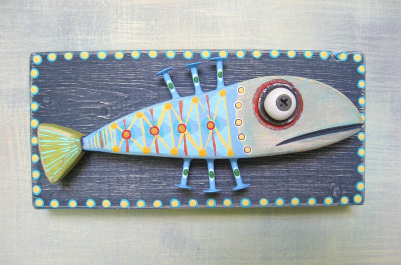 Trophy Minnow Fish Wall Art Wooden Fish Folk Art Wood Carving Painted Fish Faux Taxidermy Marine Art By Figjamstudio