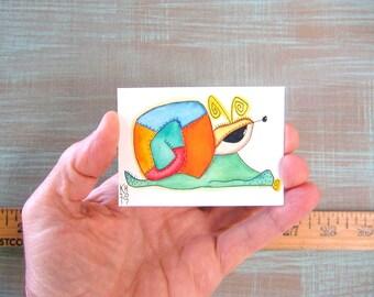 Snail-J69, Original ACEO Watercolor, Art Card, Miniature Painting, by Fig Jam Studio