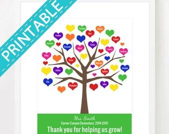 DIGITAL FILE TEACHER Tree, Printable, Personalized Class Names, Teacher Appreciation, Class Gift, End year. Teacher gift, jpg, pdf, 8x10