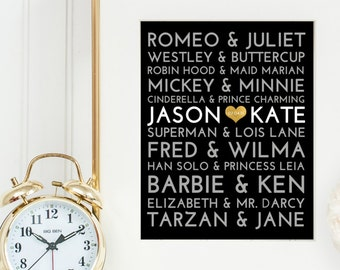 Famous Couples Subway Print, Custom, Personalized, Black, Gold, 8x10, 11x14, 16x20, wedding gift, anniversary, modern, christmas, gift