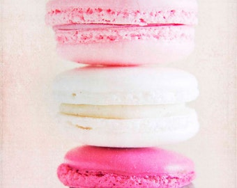 pink french macaron, french macaroon, food photography, pink and white, nursery decor, macaroon print, wall art, sweet, 5x7, fine art photo