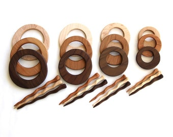 round - hair or shawl set - choose size and wood